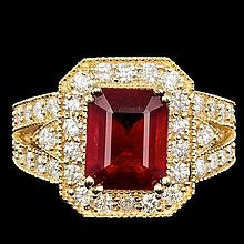 14k Yellow Gold 5.00ct Ruby 1.50ct Diamond Ring