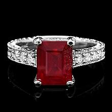 14k White Gold 4.17ct Ruby 0.35ct Diamond Ring