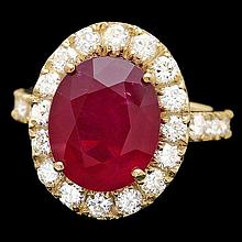 14k Yellow Gold 8.50ct Ruby 1.90ct Diamond Ring