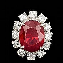14k White Gold 11.00ct Ruby 2.15ct Diamond Ring