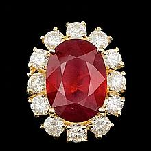 14k Yellow Gold 12.00ct Ruby 2.40ct Diamond Ring