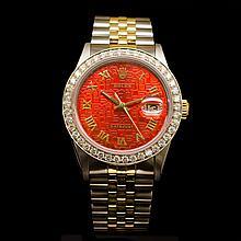 Rolex Two-Tone Datejust 36mm Custom Diamond Dial aprox. 2.25CT Men's Wristwatch