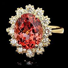 14k Gold 5ct Tourmaline 1.30ct Diamond Ring