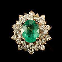 14K Gold 2.10ct Emerald 1.67ct Diamond Ring