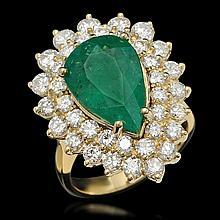 14K Gold 5.37ct Emerald 2.72ct Diamond Ring