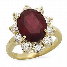 14K Gold 7.79ct Garnet 2.06ct Diamond Ring