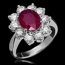14K Gold 2.95ct Ruby & 2.20ct Diamond Ring