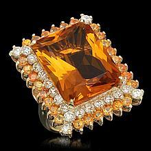 14K Gold 17.71ct Citrine 2.15ct Sapphire 1.95ct Diamond Ring