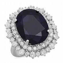 14K Gold 14.70ct Sapphire 2.10ct Diamond Ring
