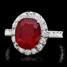 14k White Gold 5.00ct Ruby 1.40ct Diamond Ring