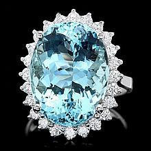 18k Gold 13ct Aquamarine 0.90ct Diamond Ring