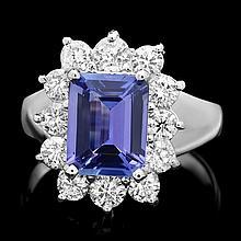 14k Gold 2.50ct Tanzanite 1.20ct Diamond Ring