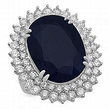 14K Gold 25.57ct Sapphire 3.39ct Diamond Ring