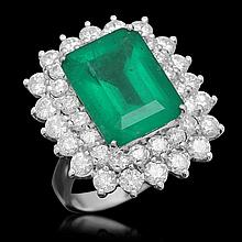 14K Gold 6.92 Emerald 2.75 Diamond Ring