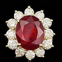14k Yellow Gold 9.00ct Ruby 3.20ct Diamond Ring