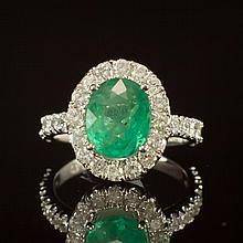 14K Gold 1.99ct Emerald 1.21ct Diamond Ring