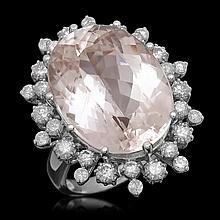 14K Gold 19.81ct Kunzite 1.45ct Diamond Ring