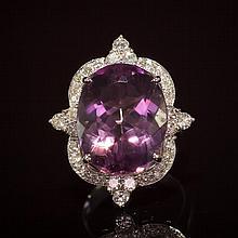 14K Gold 14.96ct Amethyst 1.21ct Diamond Ring