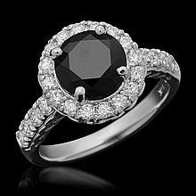 14K Gold 2.24ct Fancy Color Diamond & 0.72ct Diamond Ring