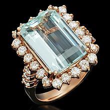 14K Gold 7.55ct Aquamarine 1.51ct Diamond Ring