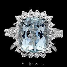 14k Gold 6.00ct Aquamarine 1.00ct Diamond Ring