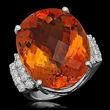 14K Gold 27.77ct Ruby 0.79ct Diamond Ring