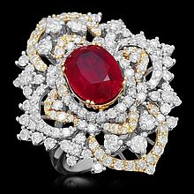 14K Gold 4.26ct Ruby 3.26ct Diamond Ring