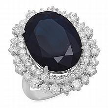 14K Gold 13.44ct Sapphire 1.85ct Diamond Ring