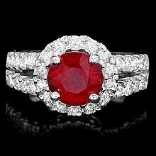 14k White Gold 3.00ct Ruby 1.30ct Diamond Ring