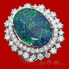 14k Gold 6.48ct Opal 1.76ct Diamond Ring