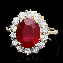 14k Yellow Gold 5.50ct Ruby 1.30ct Diamond Ring
