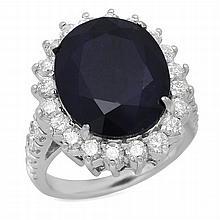 14K Gold 11.15ct Sapphire 1.74ct Diamond Ring