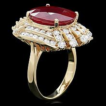 14k Yellow Gold 10.00ct Ruby 2.00ct Diamond Ring
