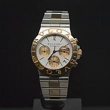 Bulgari Two-Tone Diagono Chronograph White Dial Men's Wristwatch