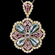 14k Aquamarine Sapphire Spinnel Diamond Pendant