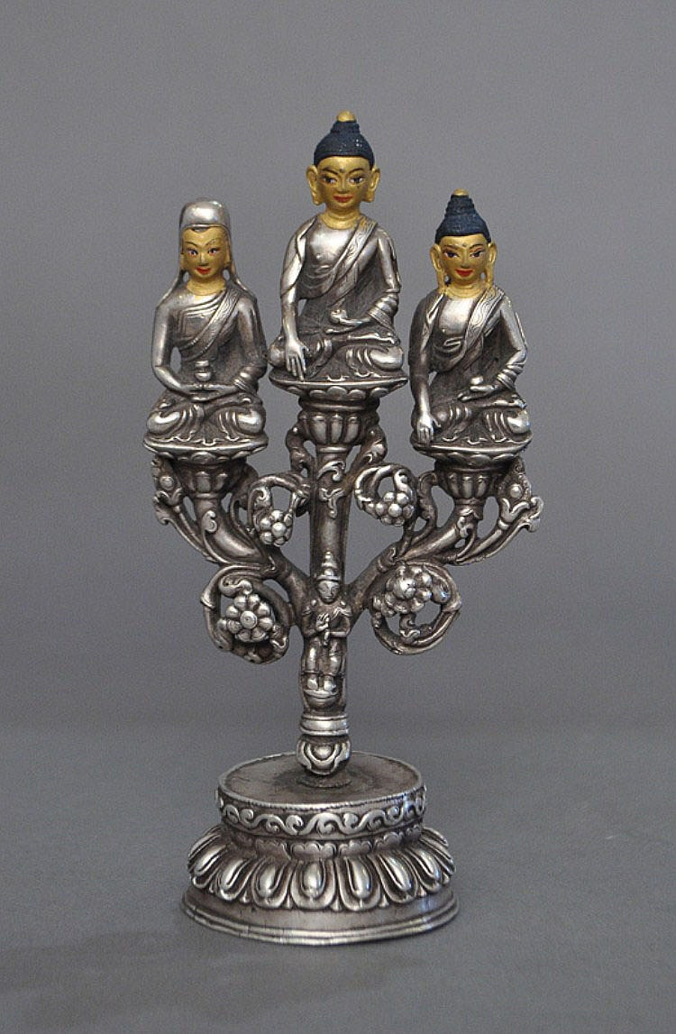 A Rare Sino-Tibetan Silver Group of Buddha, 18th C.
