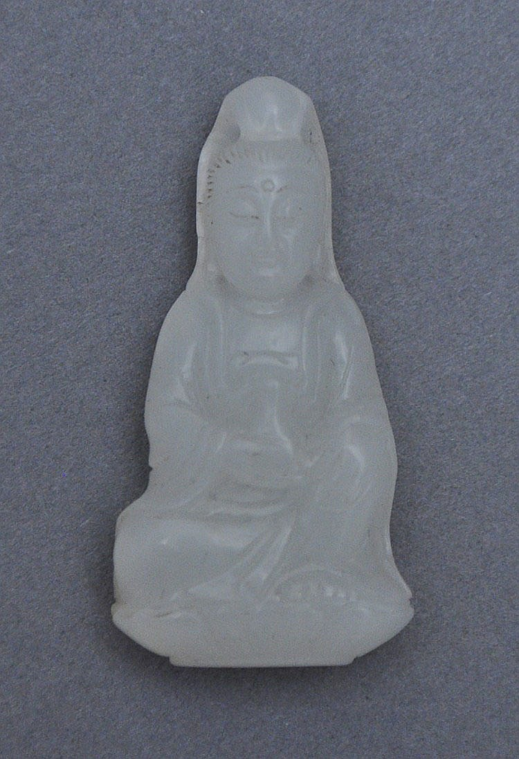 A Chinese Jade Carved Amulet of Seated Guanyin