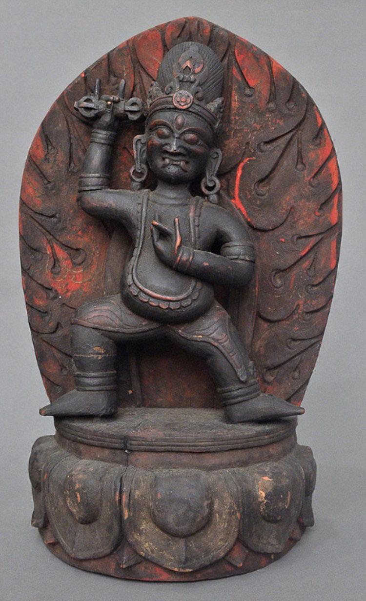 A Sino-Tibetan Wood Carved Vajrapani