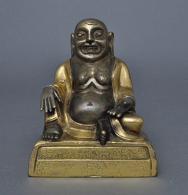 A Sino-Tibetan Gilt Bronze Mi Le Buddha, 18th C.