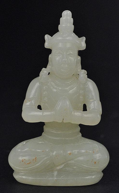 A Chinese Jade Carved Bodhisattva