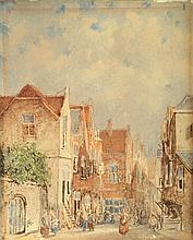 Adrianus Eversen (1818-1897), 'Stadsgezicht', gemonogrammeer