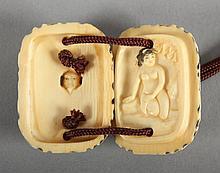 EROTISCHES MANJÛ Elfenbein H 5 JAPAN