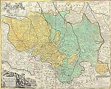 LAUSITZ ''Lusatiae'' Kupferstich koloriert 46 x 55