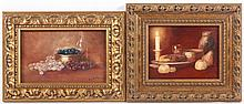 D'AULNAY G. (Maler um 1900) ''Paar Stilleben'' Öl/