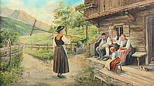 KÜHNE E. (Maler A.20.Jh.) ''Bauernfamilie im Gespr