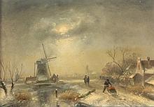 MALER UM 1900 ''Niederländische Winterlandschaft''