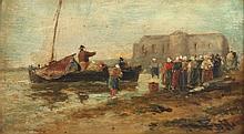 MALER DES 19.JH. ''Anlandendes Fischerboot'' Öl/Ma