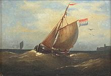 MALER DES 19.JH. ''Fischerboot vor einer Küste'' Ö