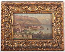 MALER UM 1900 ''Ansicht einer Stadt an einem See''