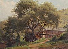 MALER A.20.JH. ''Ansicht einer Mühle'' Öl/Lwd. 36